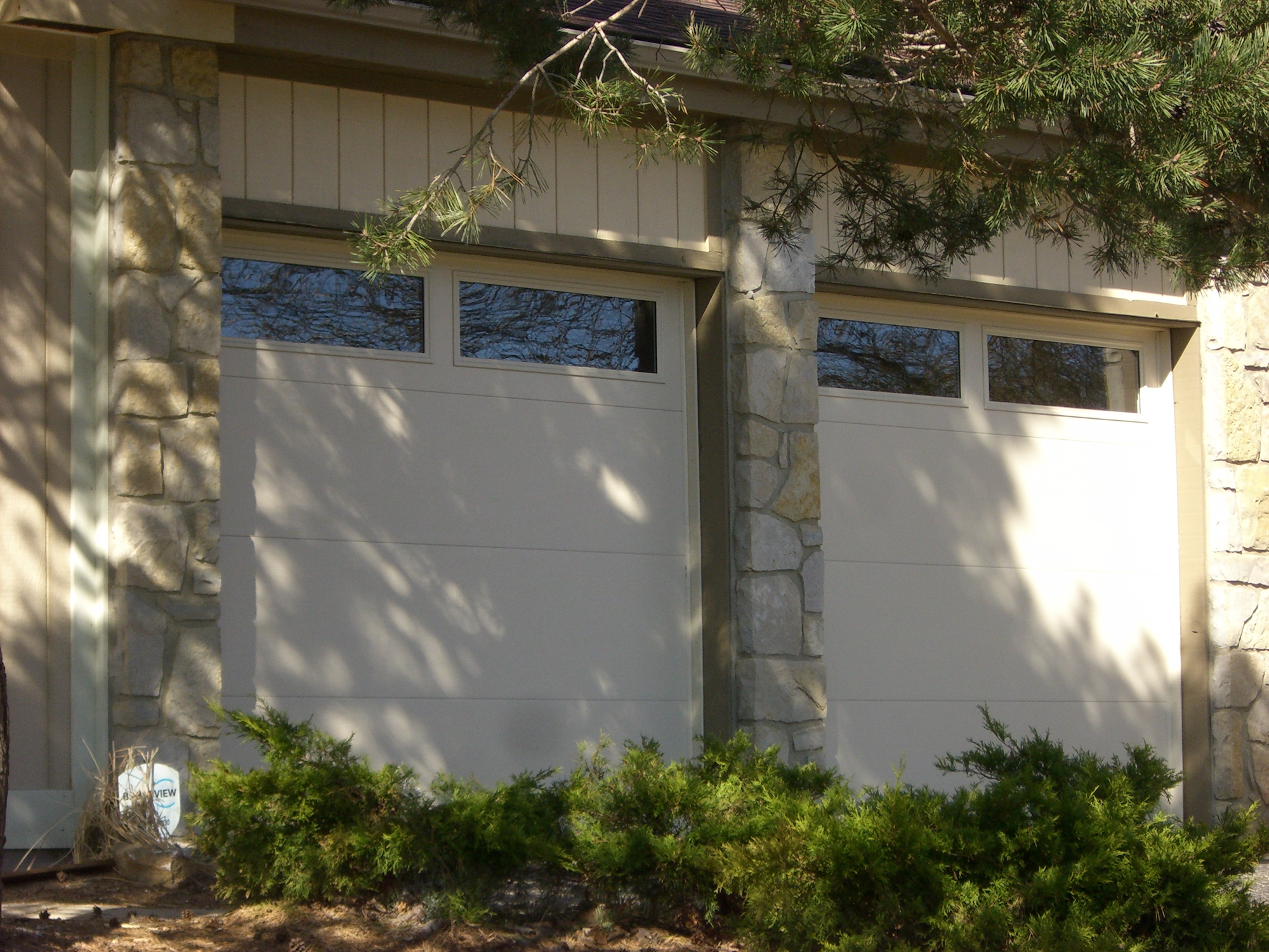 Flush Panel Door Tan with Windows