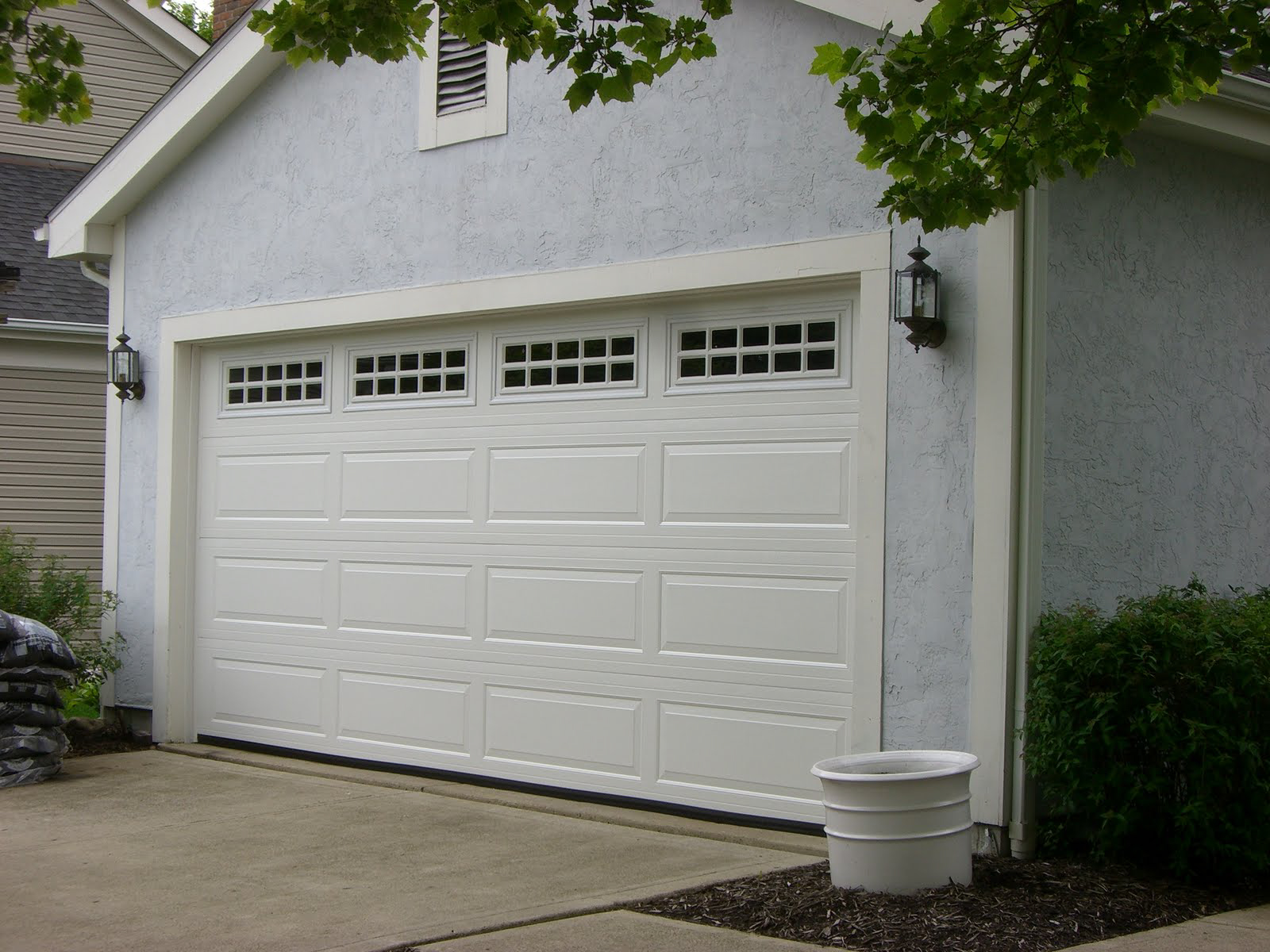 Raised Panel Door Kynar White with Windows